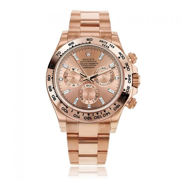 Rolex Cosmograph Daytona Pink Dial Watch with Diamonds 116505