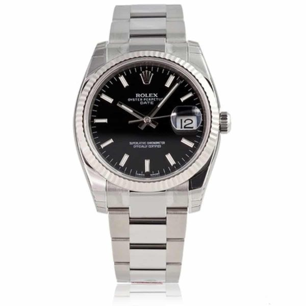 Rolex Date Black/Index Oyster Watch 115234