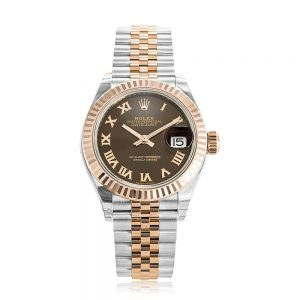Rolex Lady-Datejust 28 Chocolate/Roman Jubilee Steel/Rose Gold Watch 279171