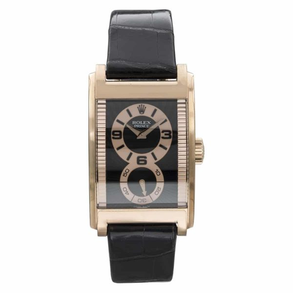 Rolex Prince Black Dial Rose Gold Watch 5442/5