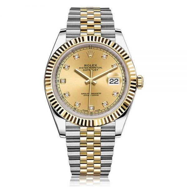 Rolex Datejust 41 Steel and Yellow Gold with Champagne and Diamond Dial 126333