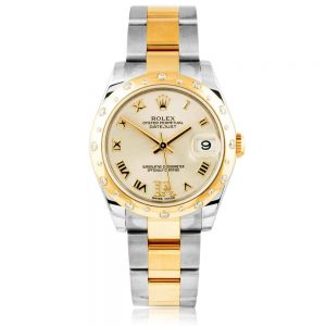 Rolex Datejust 31 Steel & 18ct Yellow Gold Scattered Diamond Ladies Oyster Bracelet Watch