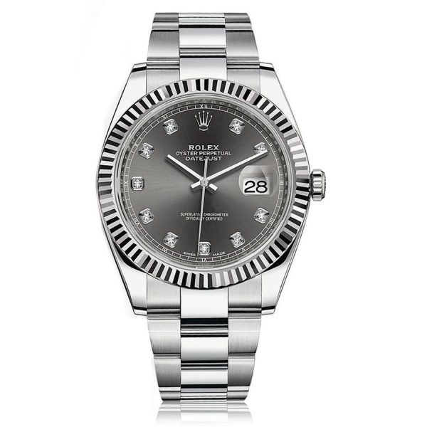 Rolex Datejust 41 Steel and White Gold Dark Rhodium/ Diamond Oyster Watch 126334