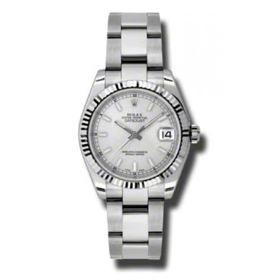 Rolex Lady Datejust Silver Oyster Watch 178275