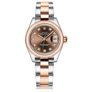 Rolex Lady-Datejust 28 Chocolate/ DMD Oyster Steel/Everose Gold Watch 279161