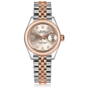 Rolex Lady-Datejust 28 Sundust/Diamond Jubilee Steel/Everose Gold Watch 279161