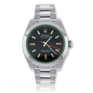 Rolex Milgauss Black Dial Green Glass Watch