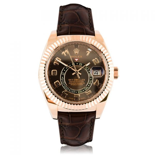 Rolex Skydweller 18ct Rose Gold Chocolate Brown Leather Strap Watch 326135