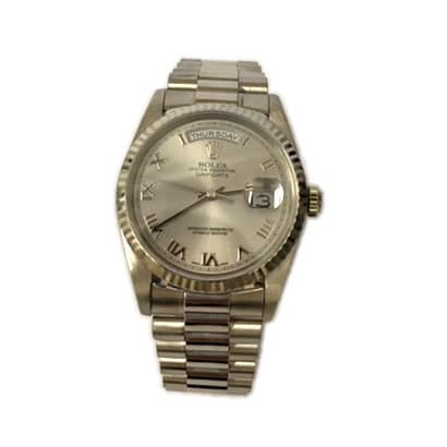 Rolex Preworn Day-Date Silver and White Gold Watch 118239