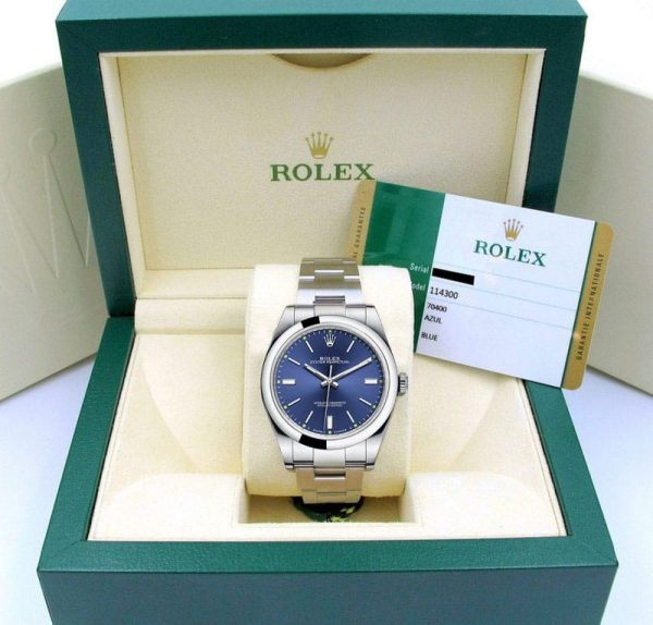 Rolex Oyster Perpetual 39 Blue/index Watch Boxed