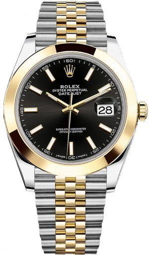 ea9bc5f51cb Rolex Datejust 41Mm Steel And Yellow Gold 126303 Black Index Jubilee