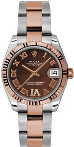 Rolex Datejust 31mm Stainless Steel And Rose Gold 178271 Chocolate Vi Roman Oyster